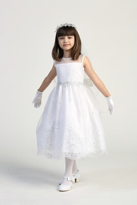 Communion Dress Embroidered Organza With Sequins - Sleeveless Tea Length