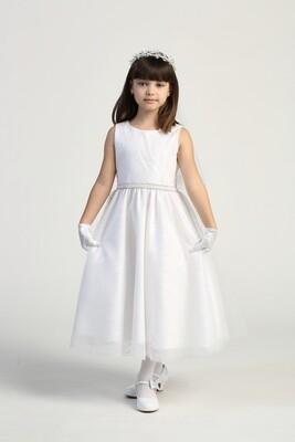 Communion Dress Glitter Patterned Tulle - Tea Length