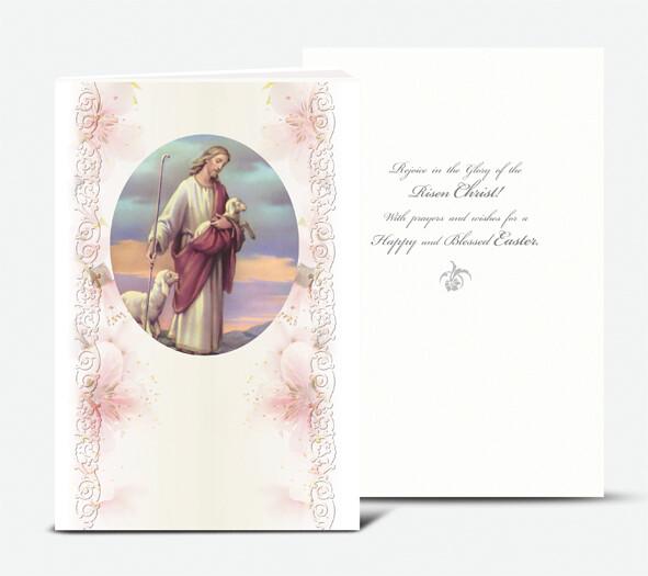 THE GOOD SHEPHERD GOLD EMBOSSED ITALIAN EASTER CARD
