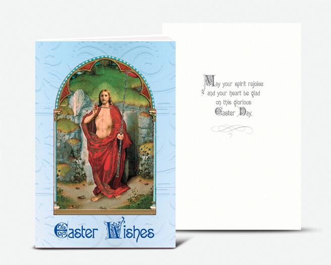 RESURRECTION OF JESUS GOLD EMBOSSED ITALIAN EASTER CARD