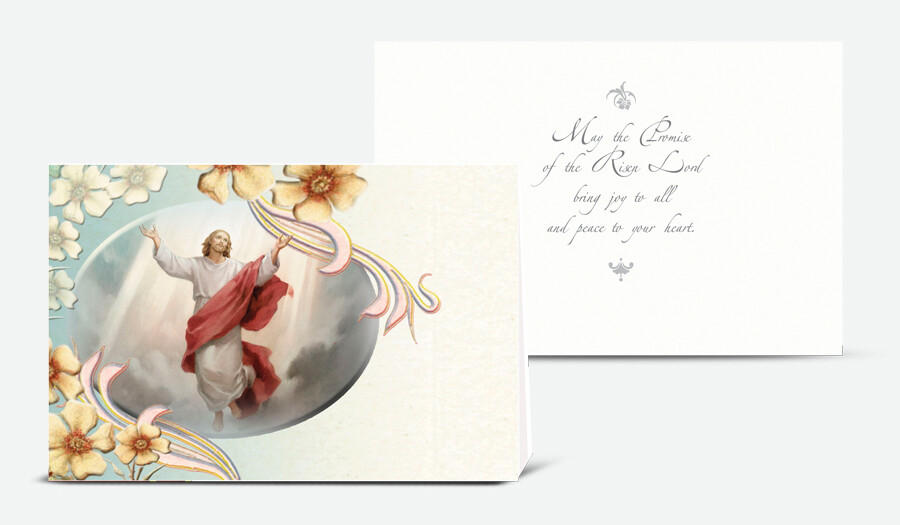 THE ASCENSION OF JESUS GOLD EMBOSSED ITALIAN EASTER CARD