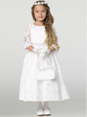 Communion Dress LS Lace - Tea Length