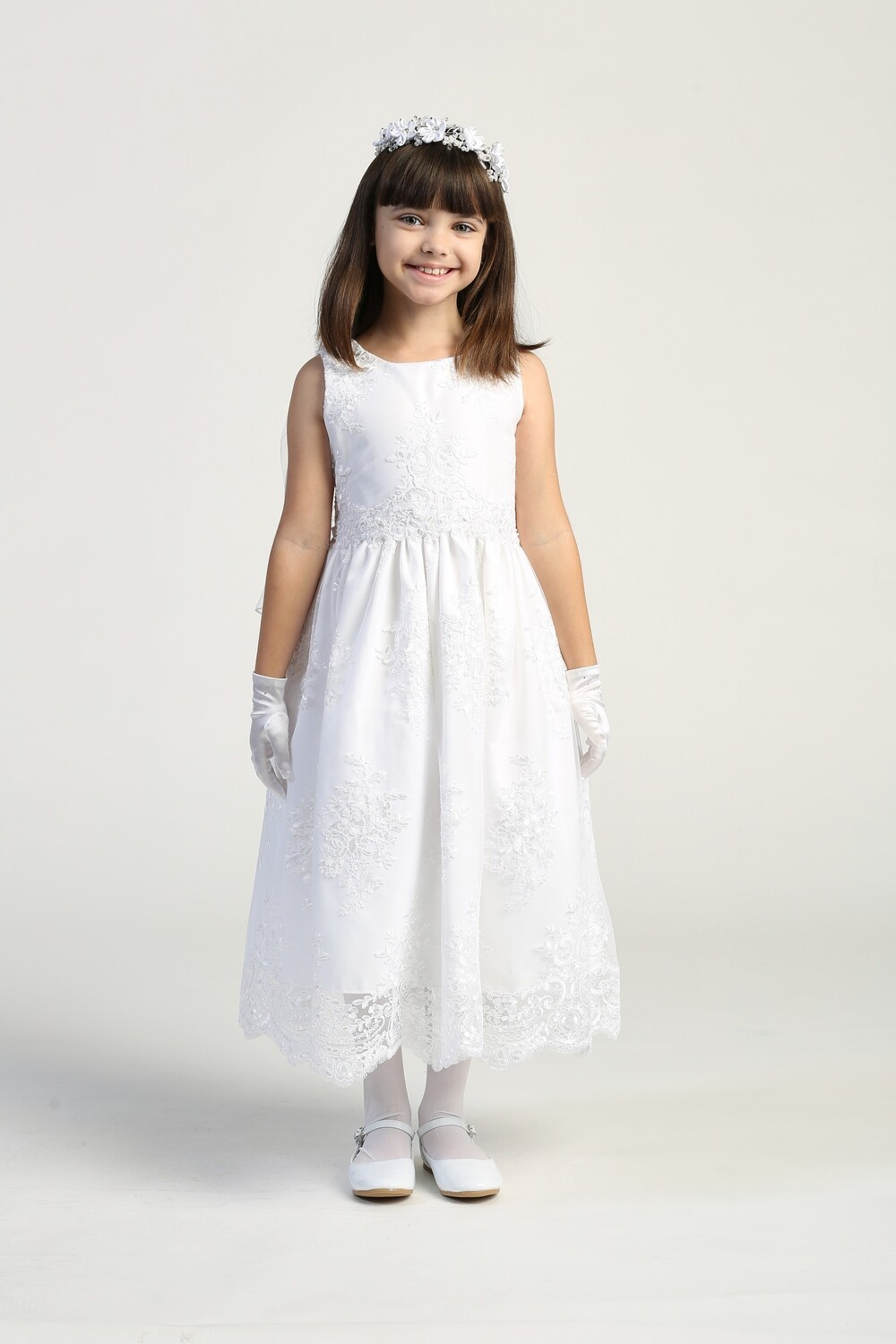 Communion Dress Corded Embroidery Lace on Tulle