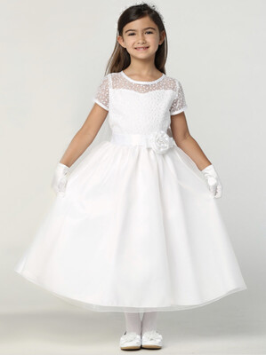 Communion Dress Embroidered tulle & Organza - Short Sleeves Tea Length