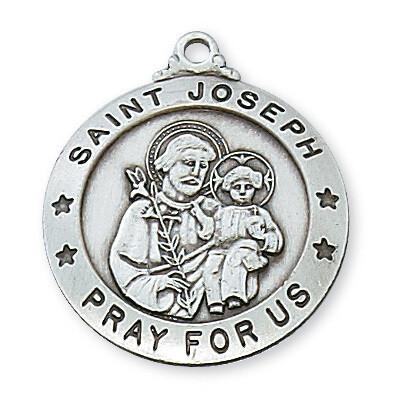 "St Joseph Round Pewter Medal - 24"" Chain"