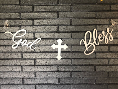 God Bless Party Banner - Silver Matte - Handmade Locally - Customizable