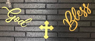 God Bless Party Banner - Gold Glitter - Handmade Locally - Customizable