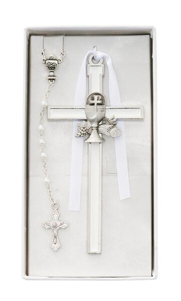 White Enameled Chalice Cross CBS1