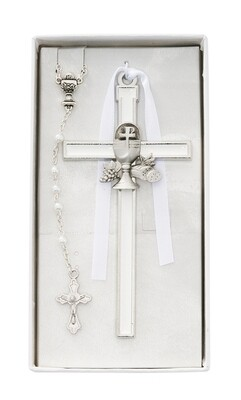 White Enameled Chalice Cross CBS1