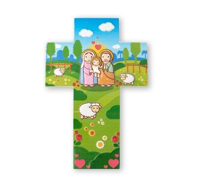 Resin Wall Cross Holy Family Little Drops 1210-360