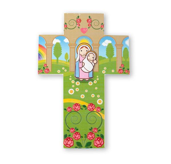 Resin Wall Cross Madonna and Child Little Drops 1210-227