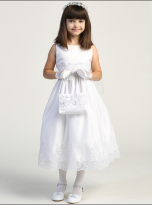 Communion Dress Tulle with corded embroidery & sequins - Short Sleeves Tea Length