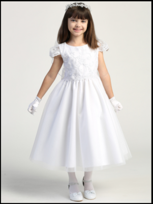 Communion Dress Corded Tulle with Sequins - Short Sleeves Tea Length