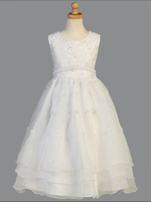 Communion Dress Embroidered Organza with Pearl -  Sleevelesss Tea Length