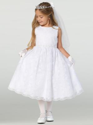 Communion Dress Embroidered Tulle with Rhinestone Trim on Waist -  Sleevelesss Tea Length