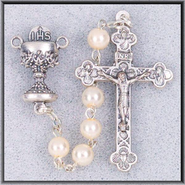 White Bead Communion Rosary 01330sbx