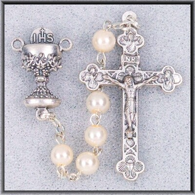 White Bead Communion Rosary 01330sbx