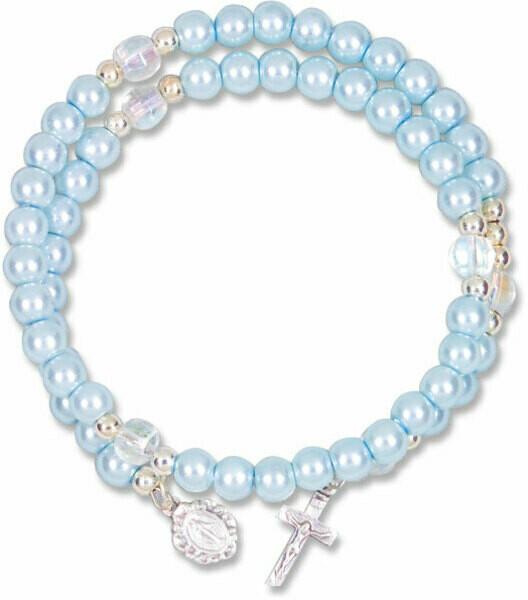 Light Blue Pearl Spiral Rosary 709LB