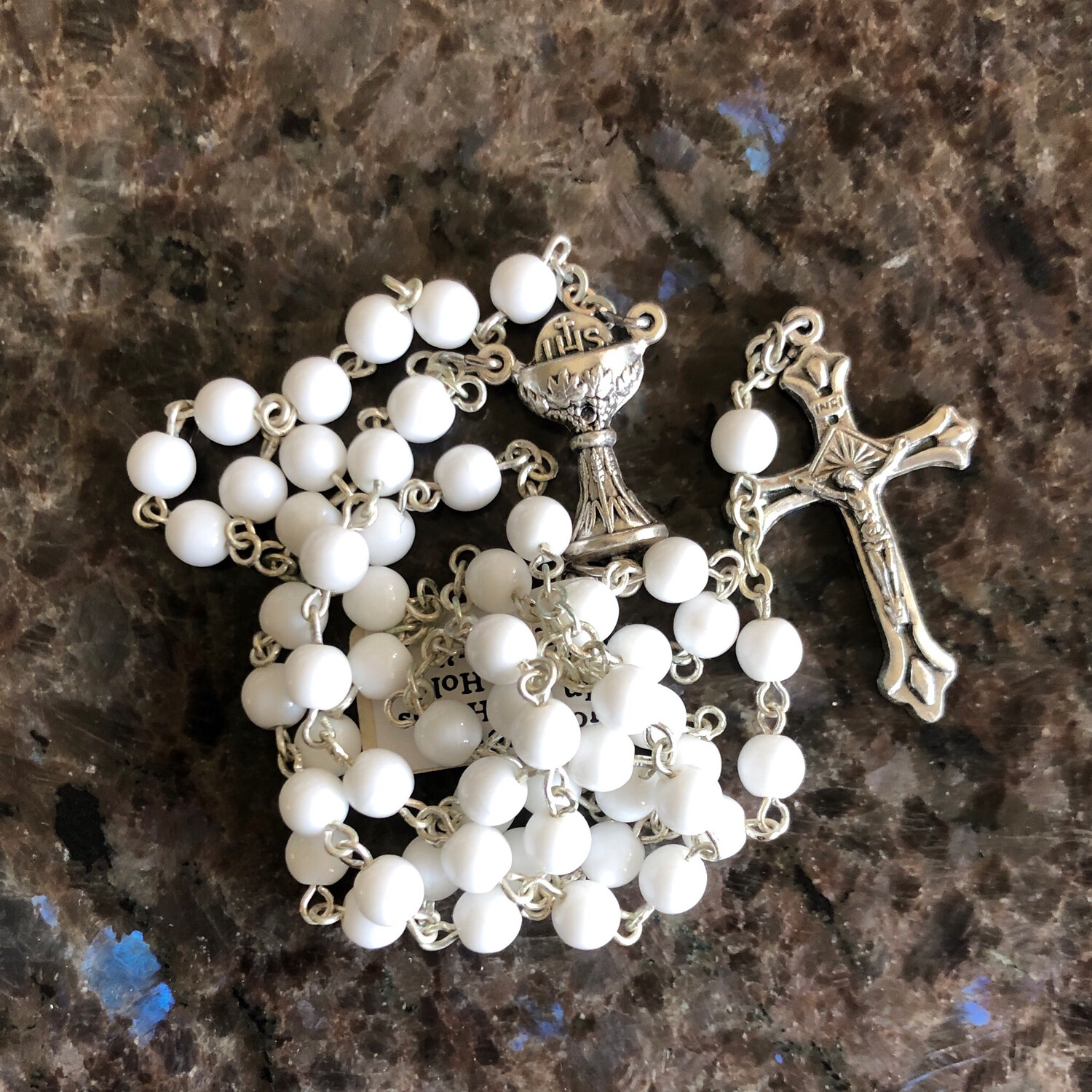 White First Communion Rosary Chalice Joiner 26-1905