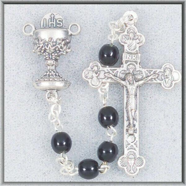 Black Glass Bead Communion Rosary 0133bkbx