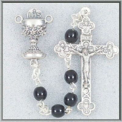 Black Glass Bead Communion Rosary 0133bkbx