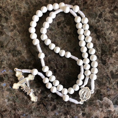 White Corded Communion Rosary P370R
