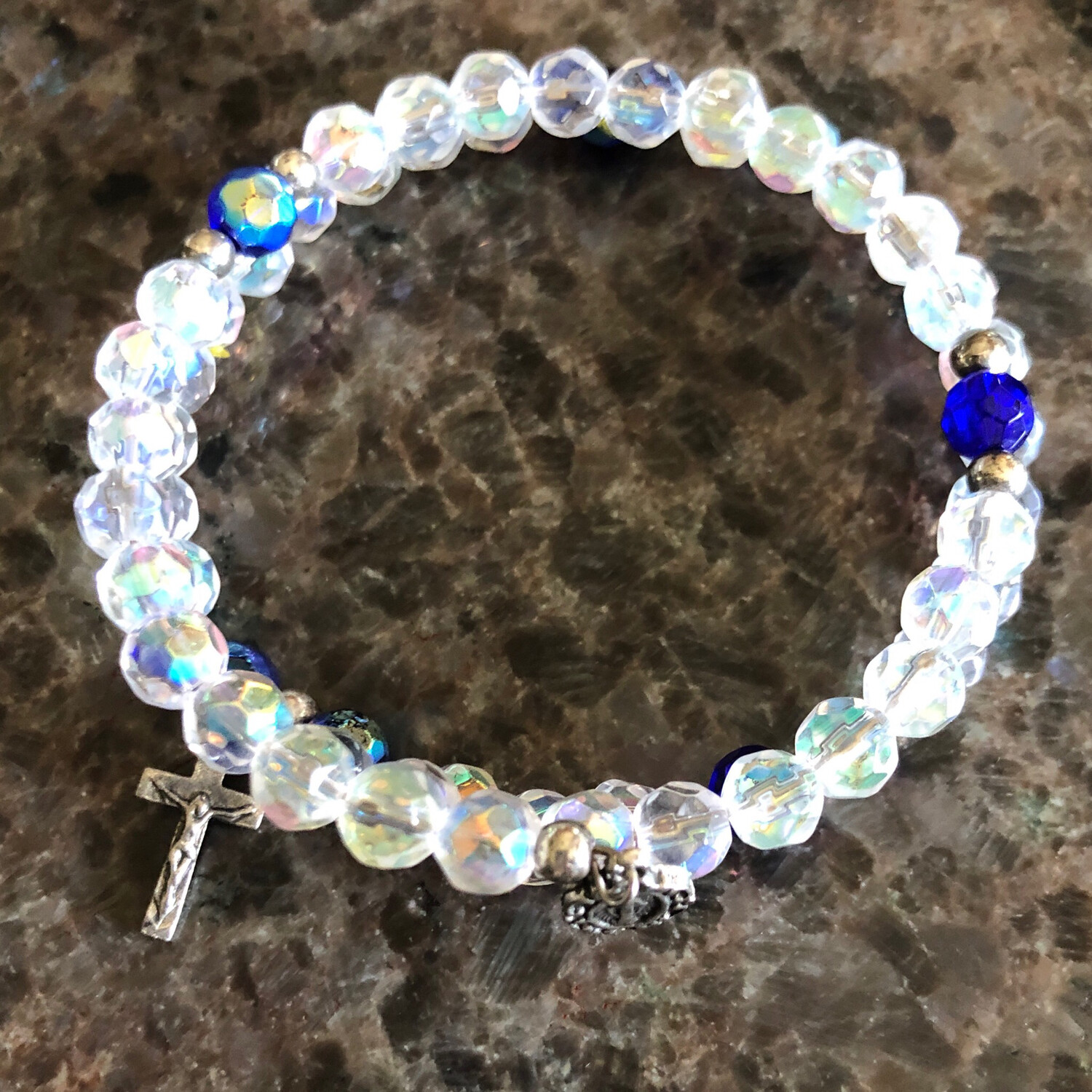 Iridescent Clear Bead Spiral Rosary Bracelet with Blue 710CR