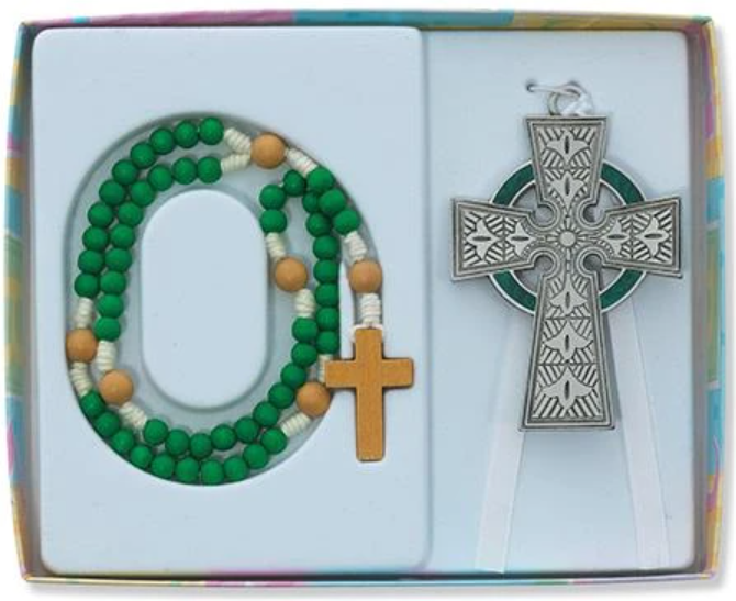 Celtic Crib Cross Rosary Set BS34