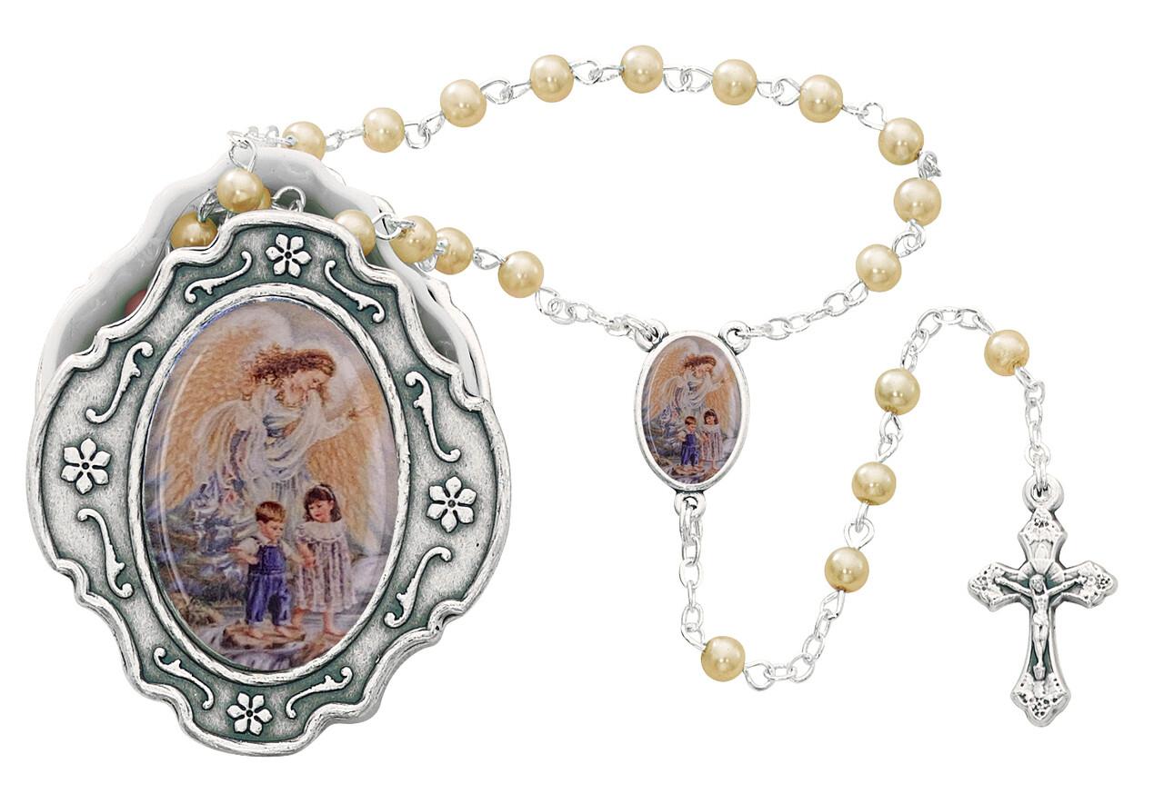 Gaurdian Angel Rosary Box and White Rosary 760-93