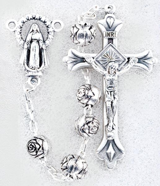 6 mm Rosary Silver Rosebud 01139
