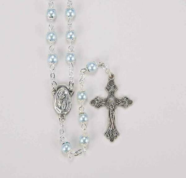 5mm Capped Light Blue Imit Pearl Rosary 1326LBBX