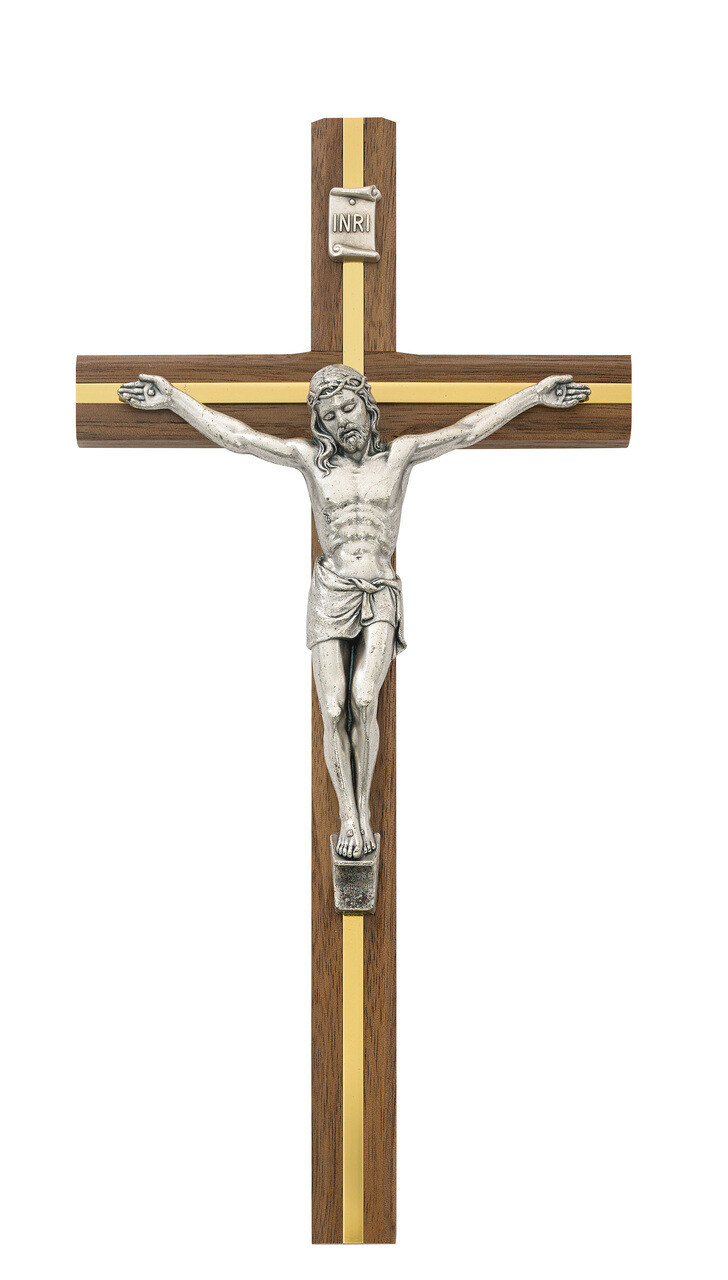 "10"" Walnut w/Silver Crucifix and Brass Inlay"