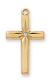"Gold over Sterling Silver CZ CROSS 18"" CH & BX"