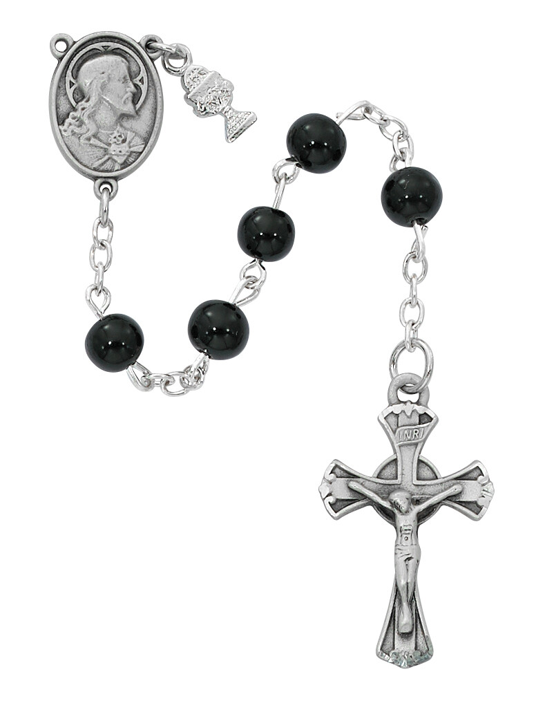 Black Glass Rosary First Holy Communion 6mm C72RB