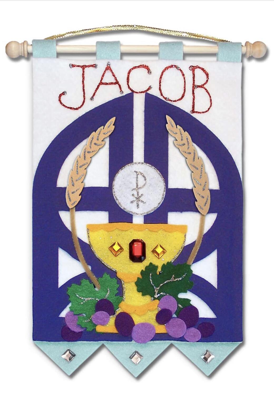 First Communion Banner Kit - Gates of Heaven - Royal Blue