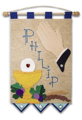 First Communion Banner Kit - Praying Hands - Royal Blue