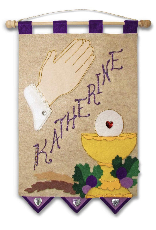 First Communion Banner Kit - Praying Hands - Royal Purple