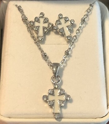Cross Necklace and Earrings Silver Plated White and Crystal PES12