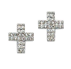 Silver & Crystal Cross Earrings Boxed