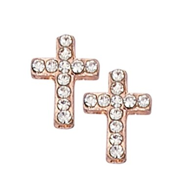 Gold Cross Earrings with Crystals