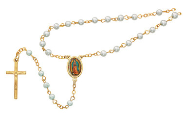 Gold Guadalupe Box & Blue Rosary 760-123
