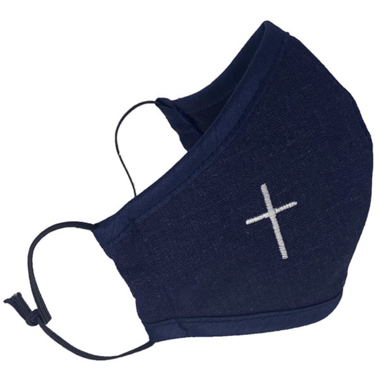 Navy Blue Mask With White Cross Embroidery (Child Size)