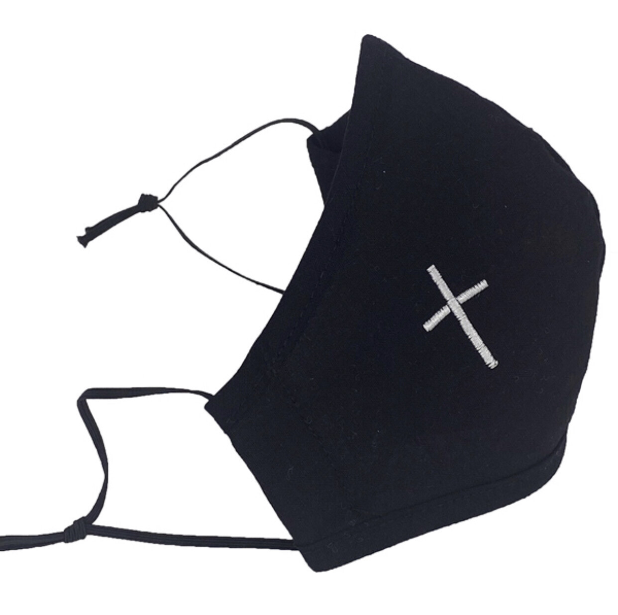 Black Mask With White Cross Embroidery (Child Size)