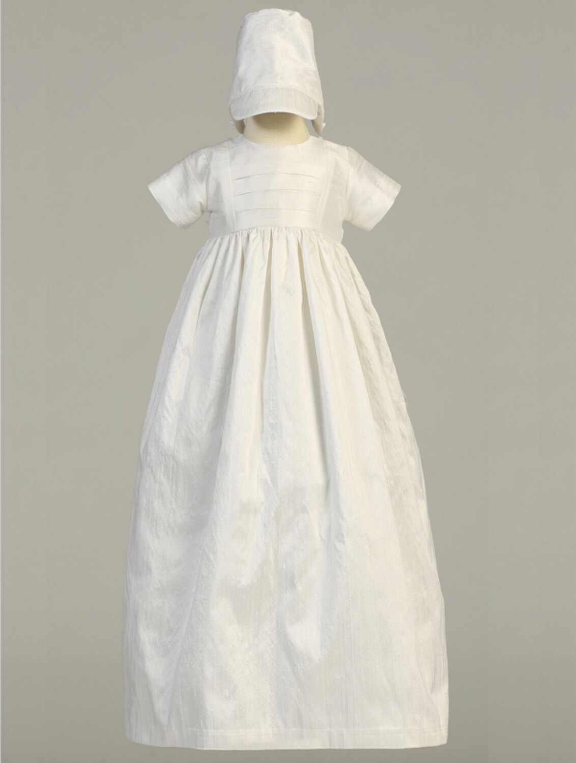 Raw silk heirloom Baptism gown - with two hats (boy and girl)