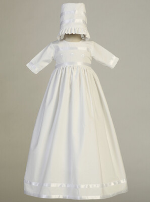 Cotton Baptism Gown with Embroidered Shamrock