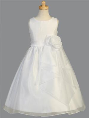 Communion Dress Shantung bodice with crystal organza skirt & flower at waist - Sleeveless Tea Length