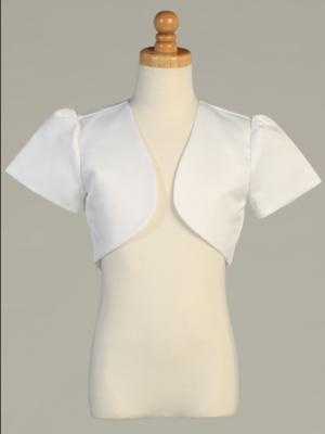 Communion Satin Short Sleeve Bolero White