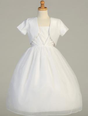 Communion Dress - Shantung Bodice and Bolero with Organza Skirt- Sleeveless Tea Length