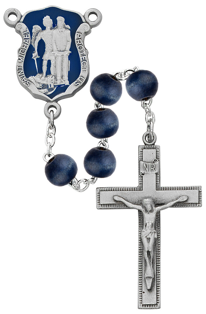 8MM BLUE WOOD POLICE ROSARY BOXED