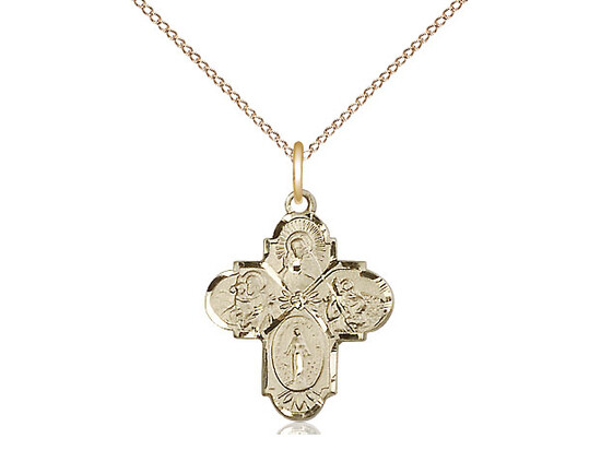 """Gold Filled 4 Way Medal Small 18"""""""